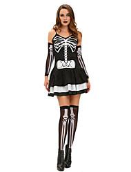 Costumes de Cosplay Squelette/Crâne Fête / Célébration Déguisement Halloween Noir Imprimé Robe / Gants / Jambières Halloween / Carnaval