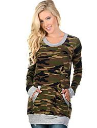 Damen camuflaje Retro Ausgehen T-shirt,Rundhalsausschnitt Herbst / Winter Langarm Schwarz / Grau Baumwolle Mittel