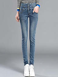 Women's Skinny Jeans Pants,Casual/Daily Simple Solid High Rise Button Cotton / Spandex Micro-elastic Winter