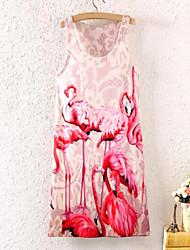 De las mujeres Corte Bodycon Vestido Estampado Mini Escote Redondo Poliéster