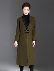 1898 Women's Casual/Daily Simple CoatSolid V Neck Long Sleeve Winter Red / Black / Green Wool / Polyester