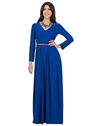 Swing Robe Femme Plage / Grandes Tailles simple,Couleur Pleine Col en V Maxi Manches Longues Bleu / Rouge / Beige / Noir / Vert / Violet
