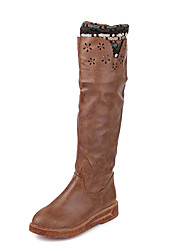 Women's Boots Winter Platform Leatherette Dress Wedge Heel Platform Brown
