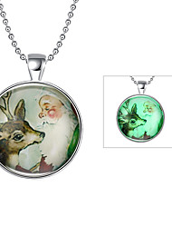 Fashion Luminous Christmas Gift Glowing Lovely Sika Deer Pendant Necklace