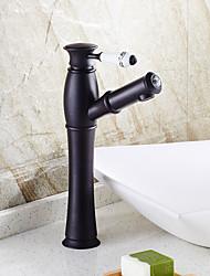 antique generalizada única alça de um buraco em bronze torneira pia do banheiro esfregou-óleo (de altura)