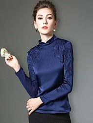 Feminino Camiseta Trabalho / Tamanhos Grandes Inverno,Sólido / feito à mão / Bordado Azul / Preto Poliéster / Fibra Sintética / Elastano