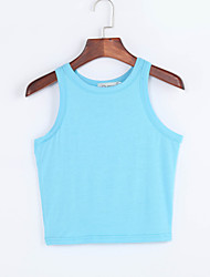 Women's Going out Sexy Summer Tank Top,Solid Strap Sleeveless Blue / Pink / White / Beige / Green Others Medium