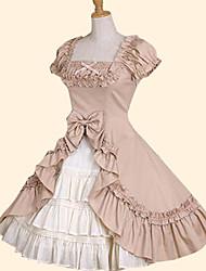 Jupe Doux Princesse Cosplay Vêtrements Lolita Rose Vert Nœud papillon Manches Courtes Moyen Robe Pour Coton