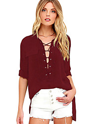 Women's Long Sleeve Lace-up Top