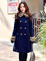 Women's Going out / Casual/Daily / Holiday Vintage / Street chic / Sophisticated CoatSolid Notch Lapel Long Sleeve Fall / Winter