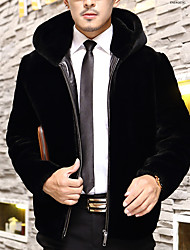 Men's Casual/Daily Simple Fur Coat,Solid Hooded Long Sleeve Winter Black Wool Thick