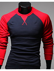 Men's Casual/Daily / Sports Simple Spring / Fall Shirt,Solid Round Neck Long Sleeve Red / Black / Gray Cotton Medium
