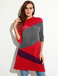 Robe Aux femmes Ample / Gaine Simple,Couleur Pleine Col Roulé Au dessus du genou Polyester