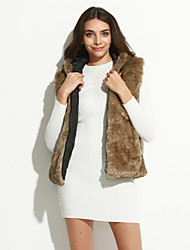 Women's Plus Size / Casual/Daily / Party/Cocktail Sexy / Simple / Chinoiserie Fur Coat,Solid Hooded Sleeveless Fall /