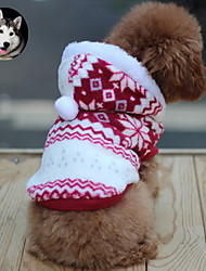 Cat Dog Coat Hoodie Red Brown Dog Clothes Winter Spring/Fall Snowflake Fashion Keep Warm