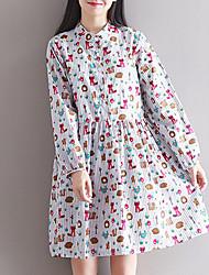 Feminino Evasê Vestido, Para Noite Moda de Rua Listrado / Estampado Colarinho Chinês Altura dos Joelhos Manga Longa Branco Algodão