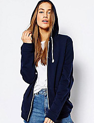 Women's Going out / Casual/Daily Simple / Street chic JacketsSolid All Match Fashion Hooded Long Sleeve Spring / Fall Medium
