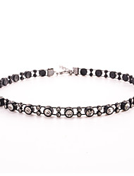 1pc Black Crystal Tatoo Style Choker Necklace Jewelry