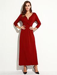 Gaine Robe Femme Grandes Tailles Bohème,Couleur Pleine V Profond Maxi Manches Longues Rouge Noir Violet Coton Polyester AutomneTaille