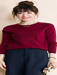 Damen Kurz Pullover-Lässig/Alltäglich Einfach Solide Rot Beige Schwarz Rundhalsausschnitt Langarm Polyester Herbst Winter Mittel