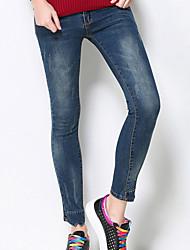 MEIDONGTAI Women's Plus Size Slim Chinos PantsCasual/Daily Street chic Solid Mid Rise Elasticity Cotton / Nylon / Spandex Micro-elastic Winter