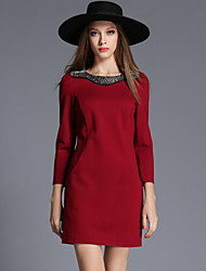 Women's Plus Size / Beaded Slim chic A Line / Bodycon Dress Solid Round Neck Mini Long Sleeve Blue / Red / Black / Green Cotton /