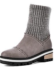 Women's Boots Winter Others Leatherette Dress / Casual Chunky Heel Slip-on / Split Joint Black / Gray Others