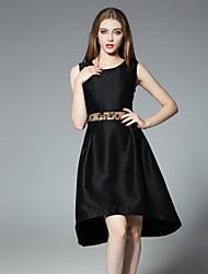 jojo hans occasionnel une simple ligne / quotidienne des femmes dresssolid sans manches col rond polyester noir