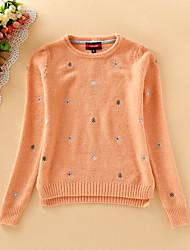 Damen Kurz Pullover-Lässig/Alltäglich Einfach Stickerei Blau Beige Orange Rundhalsausschnitt Langarm Acryl Herbst Mittel Mikro-elastisch
