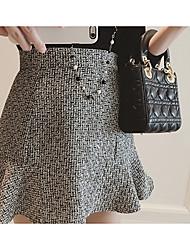 Damen Röcke,A-Linie PunkteAusgehen / Lässig/Alltäglich Mittlere Hüfthöhe Über dem Knie Elastizität Baumwolle Micro-elastischHerbst /