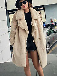 Women's Casual/Daily Simple Coat,Solid Long Sleeve Beige / Brown Rabbit Fur