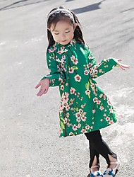 Girl's Casual/Daily Floral Dress,Cotton Fall Long Sleeve
