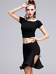 Latin Dance Outfits Women's Performance Milk Fiber / Modal 2 Pieces Short Sleeve High Top / Skirt
