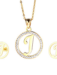 Kalen Cheap Women Accessories Stainless Steel 18K Gold Plated Capital Letter J Pendant Necklace And Earrings Jewelry Sets Gifts