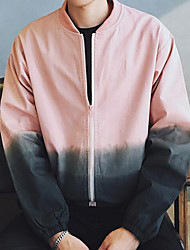 Men's Casual/Daily SimpleColor Block Long Sleeve Pink / White / Gray Polyester
