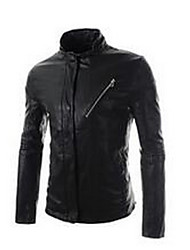 Men's Going out / Casual/Daily Simple Leather Jackets,Solid Stand Long Sleeve Fall Black / Brown PU