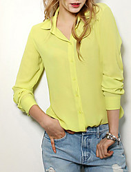 Women's Going out / Casual/Daily / Formal Sexy Fall / Winter Blouse,Solid Round Neck Long Sleeve Blue / Red / White / Black / Yellow