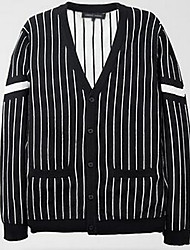 Men's Casual/Daily Simple Regular Cardigan,Striped Black V Neck Long Sleeve Acrylic Winter Medium Micro-elastic