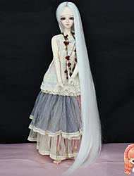 haute température 70cm de fibres longues de cheveux supplémentaires de couleur blanche droite 1/3 1/4 accessries sd bjd dz poupée perruque