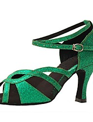 Customizable Women's Dance Shoes Sparkling Glitter Latin / Jazz / Swing Shoes / Salsa Sandals / Heels Customized Heel