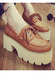 Feminino-Sapatos de Barco-ConfortoPreto / Marrom-Couro Ecológico-Casual
