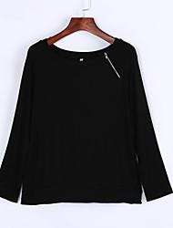 Damen Solide Einfach Lässig/Alltäglich T-shirt,Asymmetrisch Sommer / Herbst Langarm Schwarz / Grau Polyester Undurchsichtig