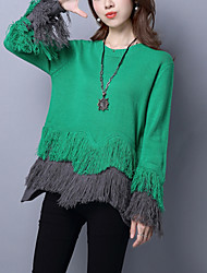 Women's Casual/Daily Street chic Loose Regular Pullover Patchwork Blue /White /Green Round Neck Long Sleeve Wool /Acrylic Fall / Winter