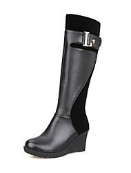 Women's Zipper Kitten-Heels Blend Materials Solid High-top Boots