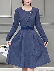 Feminino Evasê Vestido,Informal Moda de Rua Sólido Decote Redondo Altura dos Joelhos Manga Longa Azul / Cinza Poliéster InvernoCintura