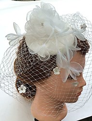 Women's Pearl / Rhinestone / Chiffon / Fabric / Net Headpiece-Wedding / Special Occasion Fascinators / Birdcage Veils 1 Piece