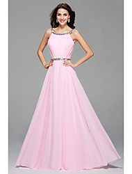 Floor-length Scoop Bridesmaid Dress - Sexy Sleeveless Chiffon