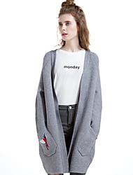 Manteau Femme,Broderie Sortie / Décontracté / Quotidien / Vacances simple Manches Longues Col en V Multi-couleur Laine / Coton / Polyester