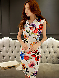 Women's Street chic Floral Sheath Dress,Asymmetrical Above Knee Polyester