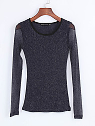 Women's Solid Blue / Black / Brown Blouse , Round Neck Long Sleeve